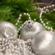 Christmas silver balls with pearls — Stock Photo