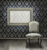 Classic chair and silver frame — Stock Photo