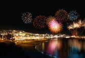 Holiday resort fireworks — Stock Photo