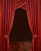 Crimson red theatre curtains — Stock Photo