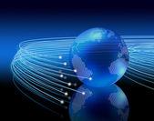 Optical fibres around earth — Stock Photo