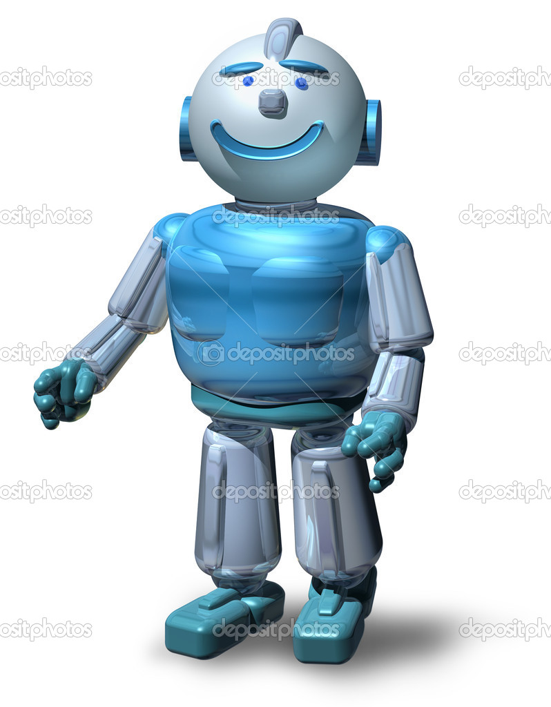 Friendly 3D robot ready to serve you, isolated on white, with drop shadow — Stock Photo #9388508