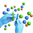 Test tubes molecular model - Stock Photo