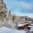 Log houses in snowy winter scenery — Stock Photo
