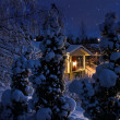 Illuminated house on snowy Christmas evening — Stock Photo #9399789