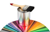 Paint brush and color guide samples — Stok fotoğraf
