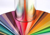 Tin can reflect colour sample chart — Stock Photo