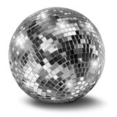 Silver disco mirror ball — 图库照片