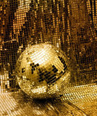 Golden disco mirror ball — Stock Photo