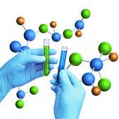 Test tubes molecular model — Stock Photo
