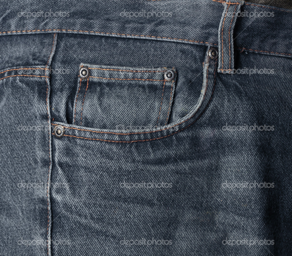 Worn dark washed denim jeans pocket detail textile background — Stock Photo #9399643