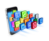 Smartphone applications icons burst — Stock Photo