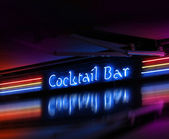 Coctail bar neon sign glowing — Stock Photo