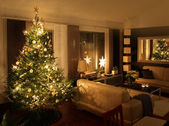 Christmas tree in modern living room — Stock Photo