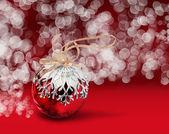 圣诞球红散景背景 — 图库照片