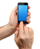 Male hands holding smartphone — Stock Photo
