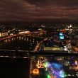 London Thames night panorama - Stock Photo