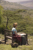 Caucasion woman in the Ngong Hills in Kenya — Stock Photo