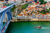 Ancient city Porto,metallic Dom Luis bridge — Stock Photo