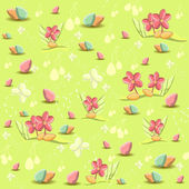 Spring seamless pattern with flowers and Easter eggs — Stock Vector