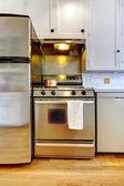炉子和不锈钢冰箱偷用白色厨房. — 图库照片