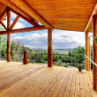 Beautiful view of the log cabin house porch. — Stock Photo #10196820