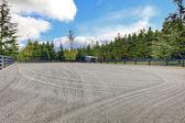 Horse farm riding open arena with gravel. — Stock Photo
