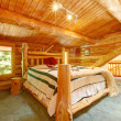 Log cabin bedroom under wood large ceiling. — Stock Photo