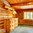 Log cabin house interior. — Stock Photo