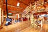 Large luxury log house living room. — 图库照片