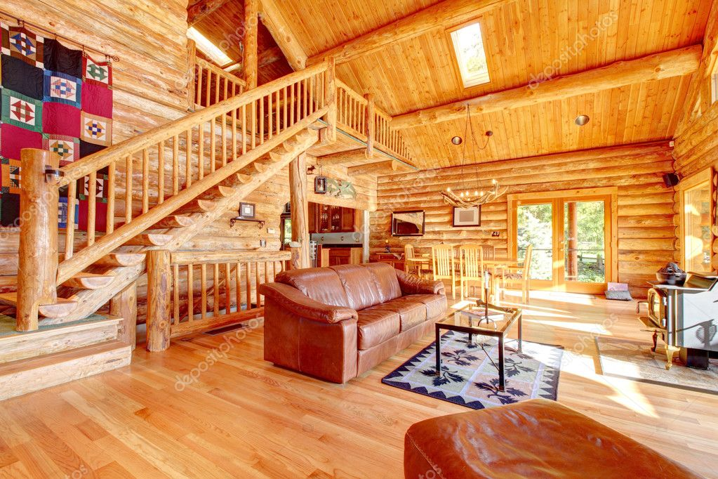 luxury log cabin living room with leather sofa u2014 stock photo u00a9 iriana88w 10227795