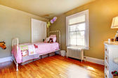 Baby girl bedroom interior with pink bed. — Stock Photo