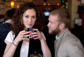 Couple in the restaurant relationship moment. — Stock Photo