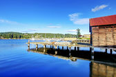 Gig Harbor, WA. Small town downtown marina area. — Stock Photo