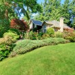 Beautiful green front garden with brown house. — Stock Photo