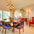 Stock Photo: Elegant Dining room with luxury blue chairs