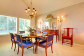 Elegant Dining room with luxury blue chairs — Stock Photo