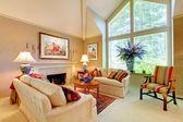 Lujo elegante salón con chimenea y ventanal. — Foto de Stock