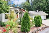 One level beige new custom build home — Stock Photo