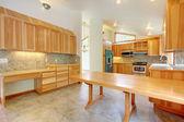 Large birch custom home kitchen interior — Stock Photo