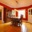 Classic red dining room with antique furniture - Foto de Stock