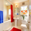 Stock Photo: Modern white and red beautiful bathroom.