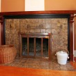 Home interior wood fireplace — Stock Photo