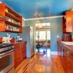 Shiny custom build kitchen with cherry wood. — Stock Photo