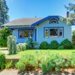 Blue old cute house with front green yard. — Stock Photo