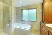Neues modernes badezimmer mit titel, badewanne und kabinett. — Stockfoto