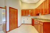 Large room with build in cabinet and white — Stock Photo