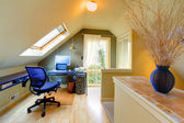 Attic cozy home office — Stock Photo