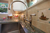 Macro of antique large faucet at luxury kitchen — Stock Photo