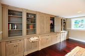 Luxury home entertainment build-in cabinets — Stock Photo